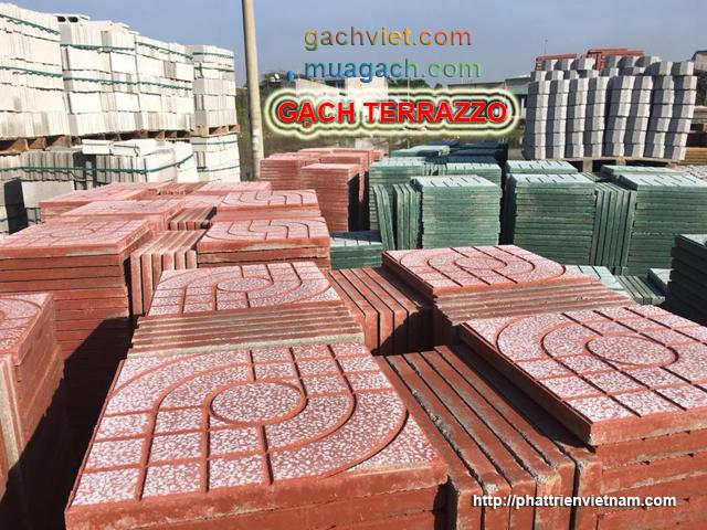 xưởng sản xuất gạch terrazzo, gạch đá mài lót sân vỉa hè đường, nhà sản xuất gạch vỉa hè, gạch sân xi mang