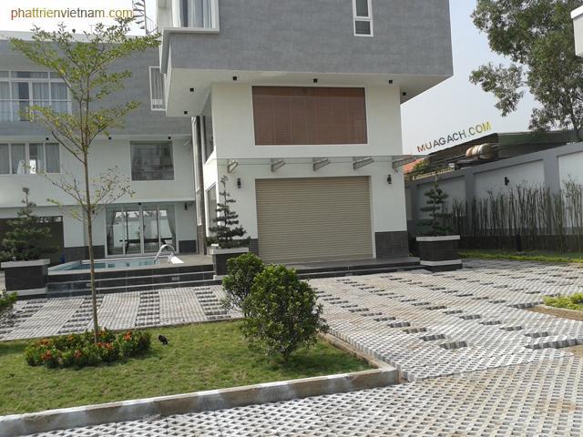 Biệt thự sử dụng gạch trồng cỏ lát sân vườn và xây tường bao thông gió